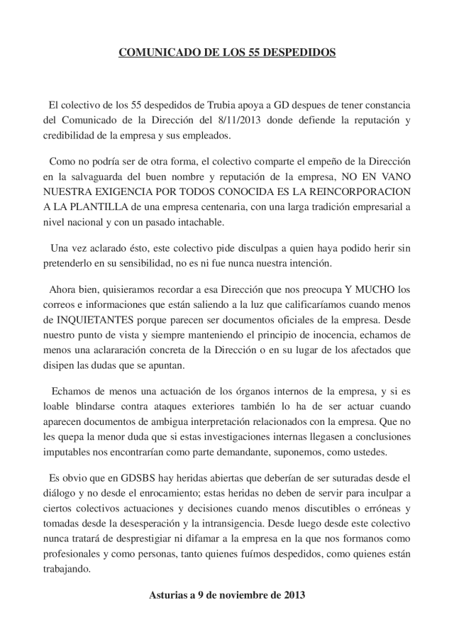 20131109 Comunicado 55 despedidos - acuerdo