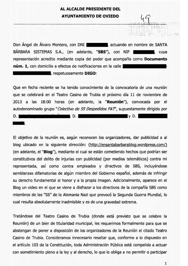 20131105 Requerimiento al alcalde Oviedo - hoja 1