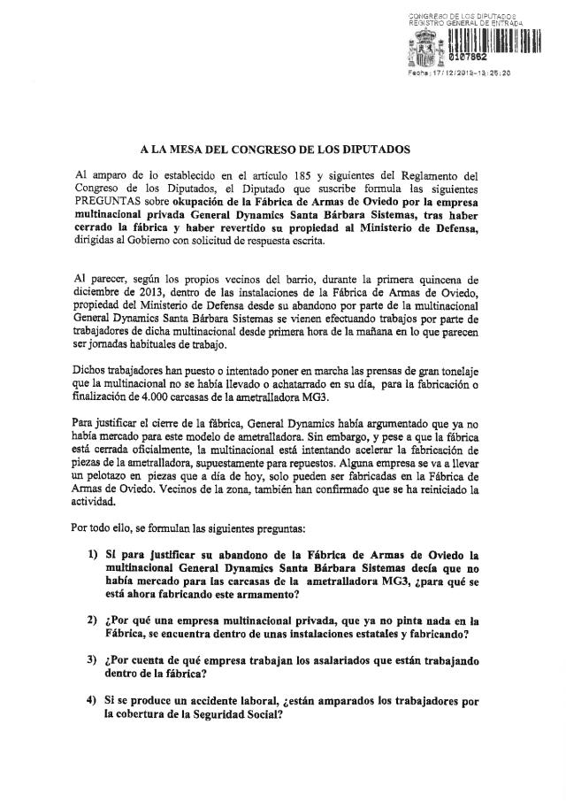 20131217 Preguntas Gobierno Ocupación Fábrica Armas de Oviedo multinacional General Dynamics Sta Bárbara Sistemas_01