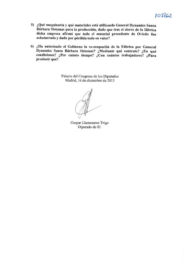 20131217 Preguntas Gobierno Ocupación Fábrica Armas de Oviedo multinacional General Dynamics Sta Bárbara Sistemas_02