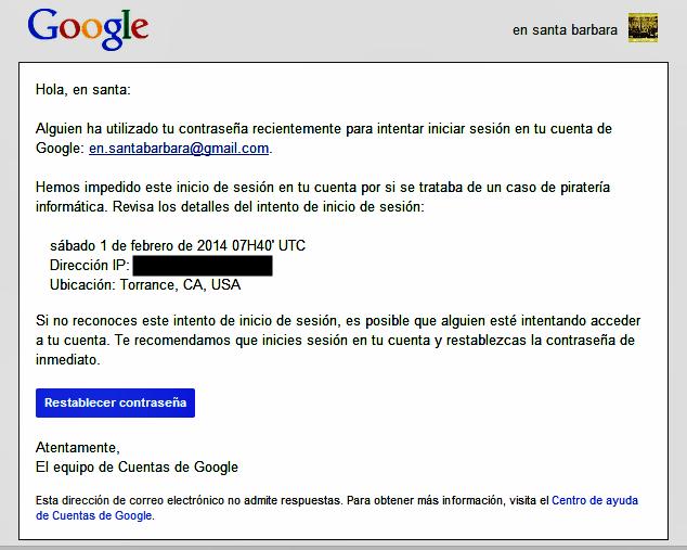 20140201 Simpatico mensaje de Google