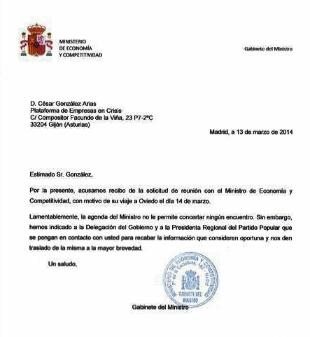 20140313 Respuesta Ministerio solicitud reunión