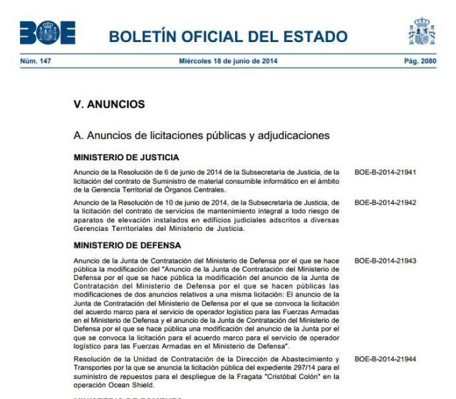 20140618_BOE_Licitacion_Ministerio_de_Defensa