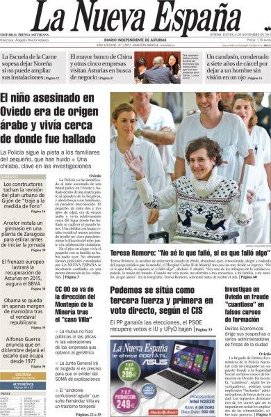 20141106 Portada la Nueva España