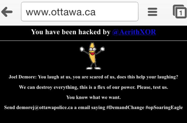 20141123 Pagina web de la ciudad de Ottawa hackeada
