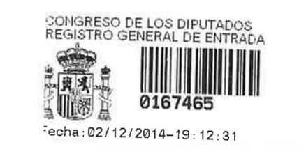 20141202 Registro pregunta al Gobierno - Gaspar Llamazares
