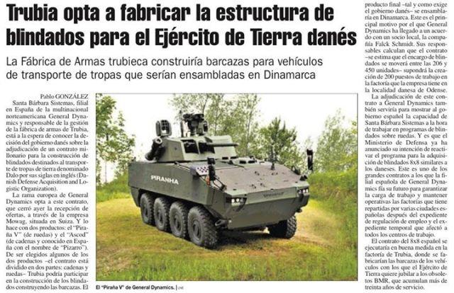 20141209 La Nueva España - Trubia opta a favricar el blindado danés