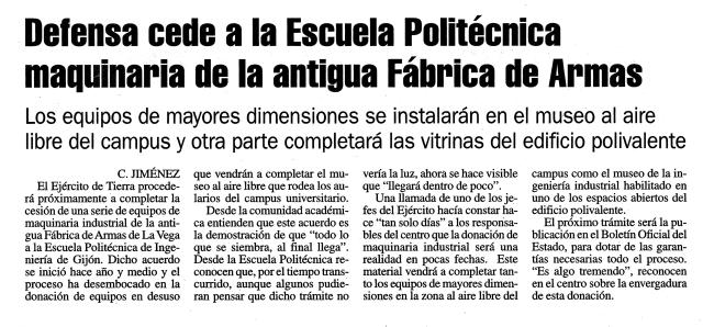 20141226 La Nueva España - Defensa cede a la Escuela Politécnica maquinaria de la antigua Fábrica de Armas