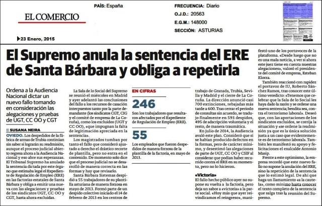20150123 El Comercio - Anulada sentencia