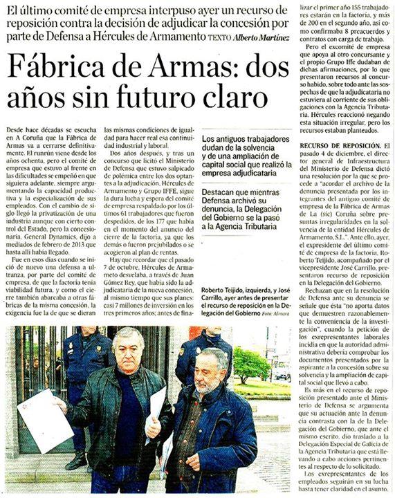 20150103 El Correo gallego - 2 años sin futuro
