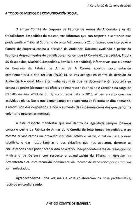 20150122 Comunicado trabajadores Fábrica Armas Coruña