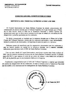 20150126 Escrito Comite Intercentros ERE