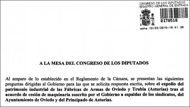 20150210 Caratula pregunta Llamazares Congreso