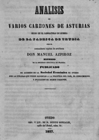 1857 - Portada libro analisis carbones - Laboratorio Trubia