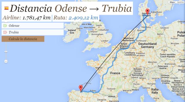 Distancia Odense Trubia