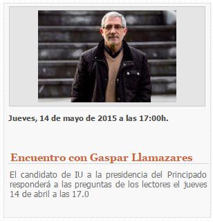 20150514 LNE - Entrevista con Gaspar Llamazares