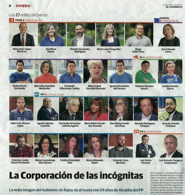 20150614 El Comercio - Concejales de Oviedo