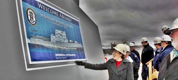 20150810 Bangor Daily - Susan Collins en GD BIW