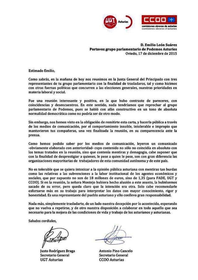 20151218 Carta de UGT - CCOO a Podemos