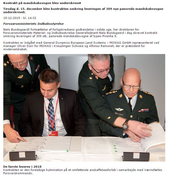 20151215 Forsvaret - Firma contrato 309 Piranha