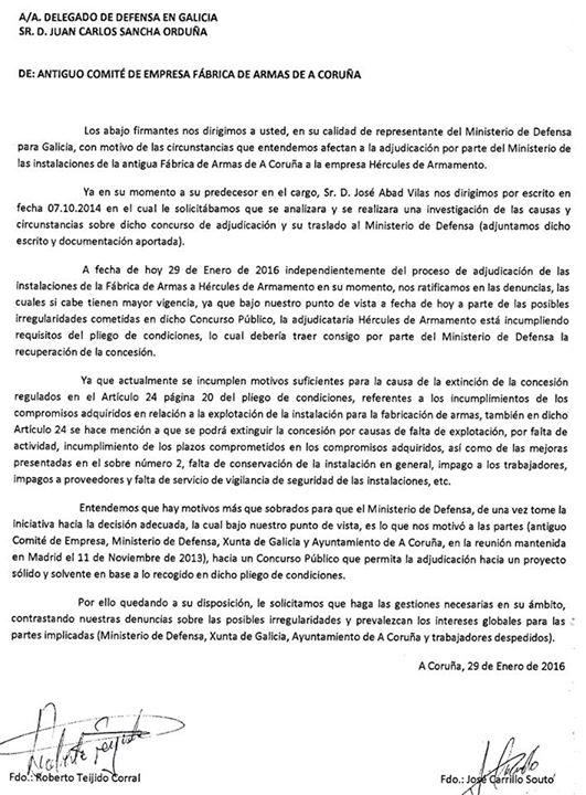 20160129_Carta al Delegado de Defensa en Galicia