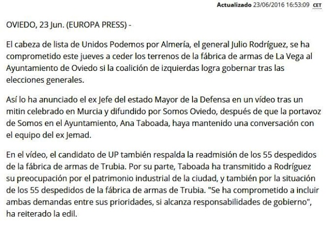 20160623 Europa Press - Noticia general Julio Rodriguez